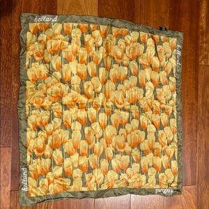 """Robin Ruth Silk Scarf Yellow Orange Tulips 20"""" Sq"""
